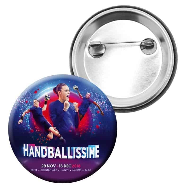 Badge Affiche Euro Handball Bleu