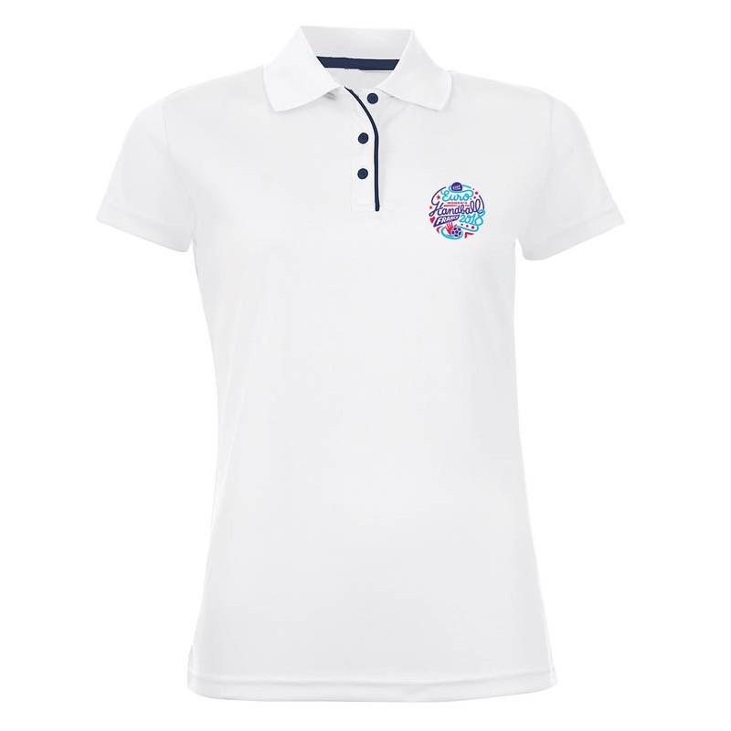 Polo Femme Logo Griffe Euro Handball Blanc