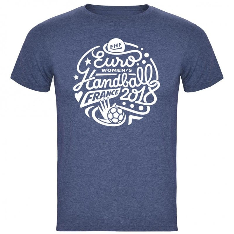 T-shirt Logo Euro Handball Denim Chiné
