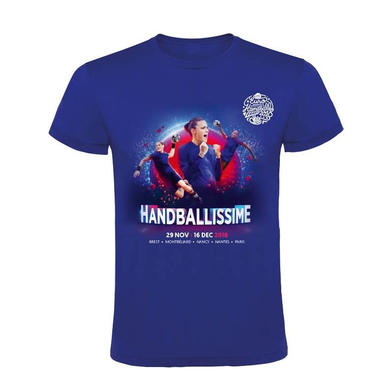 T-shirt Affiche Euro Handball Bleu